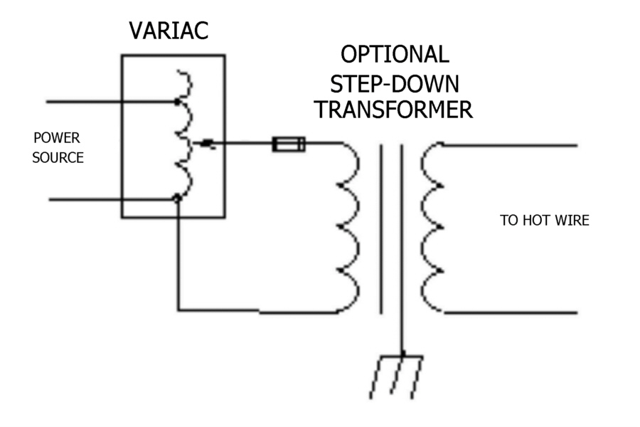 what size variac variable transformer do i need for my hot wire Electrical Transformer Wiring Diagram general information relating to hot wire applications